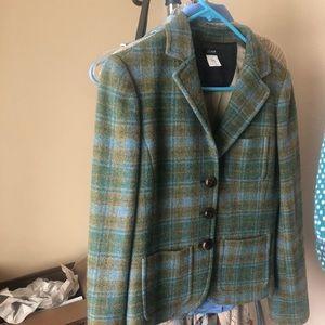 J crew wool plaid tartan blazer coat